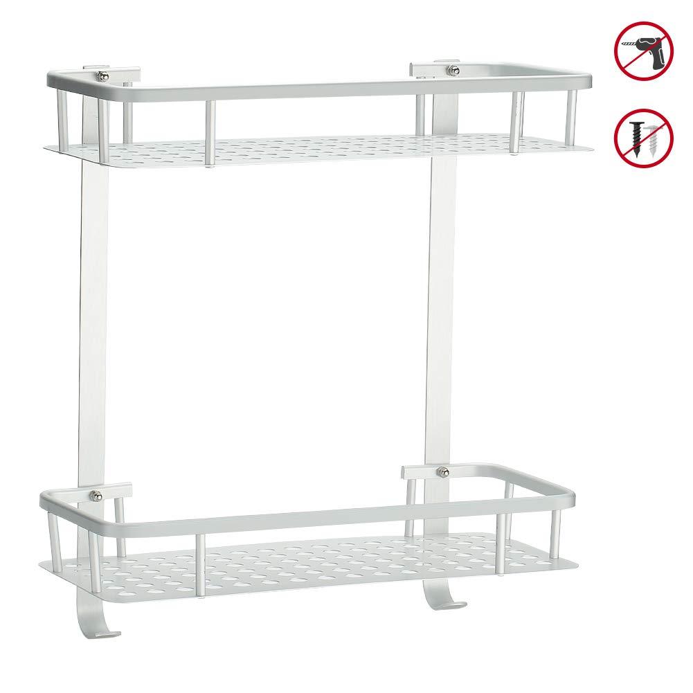 Hodzeed No Drilling Shower Shelves Aluminum 2 Tier Glue Bathroom Shelf Caddy Adhesive Storage Basket for Shampoo
