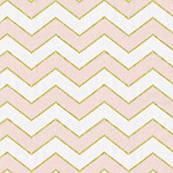 Carousel Designs Pale Pink and Gold Chevron Fabric by the Yard