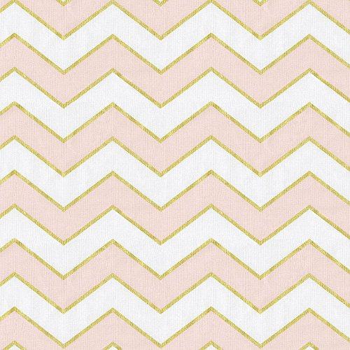Carousel Designs Pale Pink and Gold Chevron Fabric by The Yard (Fabric Yard The By Zig Zag)