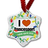 Personalized Name Christmas Ornament, I Love Dance Sport NEONBLOND