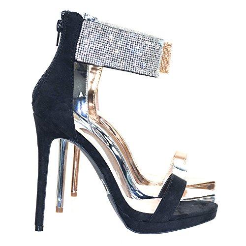 Wild Diva High Heel Rhinestone Encrusted Ankle Strap, Women's Party Sandal