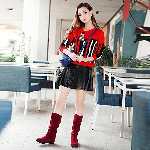 Stivale Amuster Neve Flock Casual Piatta Fashion Autunno Semplice Dolce Rosso Donna Stivali Primavera Elegante Inverno Scarpa BUAngBS