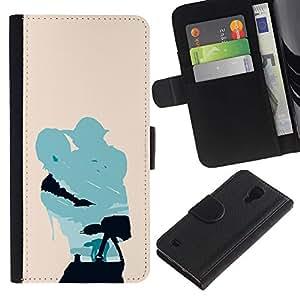 NEECELL GIFT forCITY // Billetera de cuero Caso Cubierta de protección Carcasa / Leather Wallet Case for Samsung Galaxy S4 IV I9500 // Minimalista Estrella Guerra Yoda y Lucas