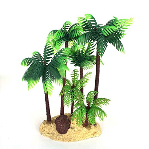 Omkuwl 14CM Aquarium Fish Tank Palm Trees Landscaping Ornament Simulation -