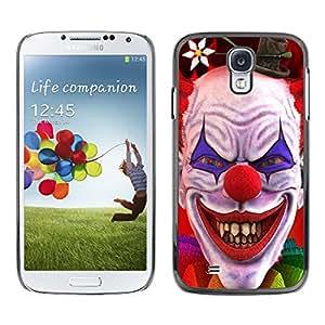 Qstar Arte & diseño plástico duro Fundas Cover Cubre Hard Case Cover para SAMSUNG Galaxy S4 IV / i9500 / i9515 / i9505G / SGH-i337 ( Clown Evil Smile Devil Red Eyes Creepy)