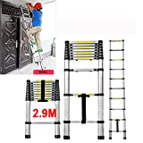QITAO 2.9 Meter Telescopic ladder, Foldable Ladder Aluminium Extension Multi-Purpose Ladder- Maximum load: 330lbs - Standard/Certification: EN131 - (9.5FT/2.9M)