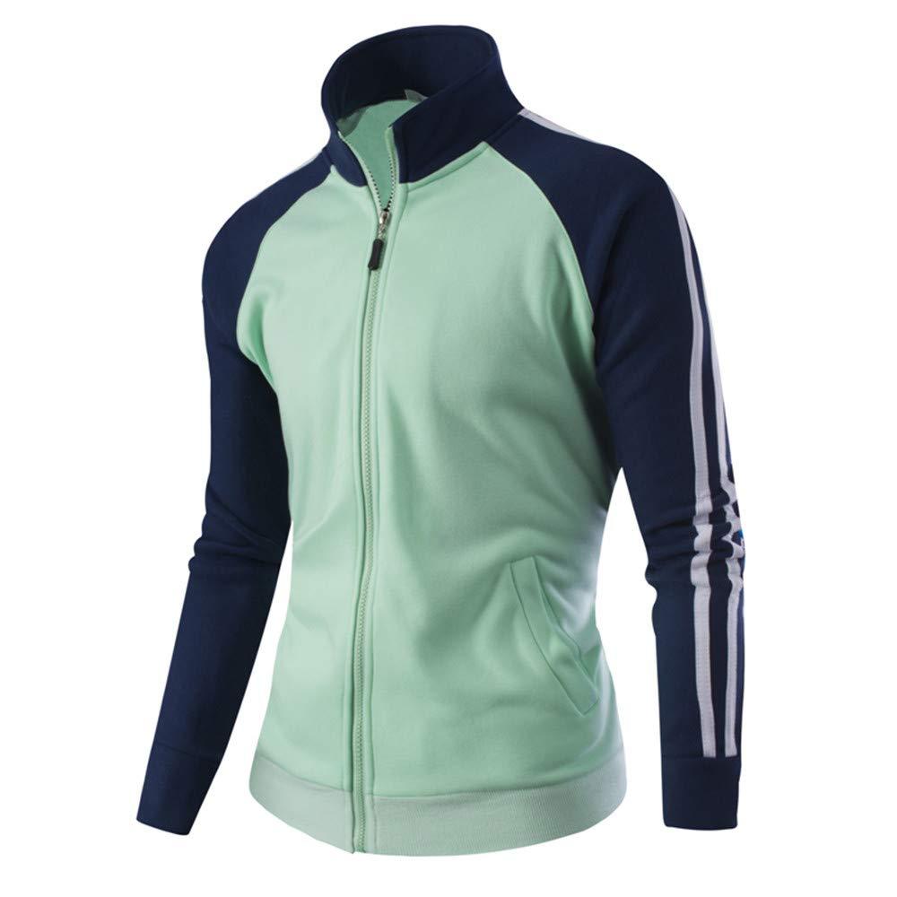 PASATO Men's Coat Top Classic Clothes Blouse Autumn Winter Warm Casual Zipper Long Sleeve Jumper Jacket Clearance(Light Green, M)