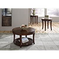 Casual Living Round Mahogany Stain 3-Piece Occasional Table Set