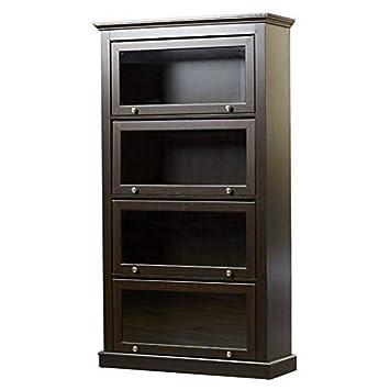 new products 3d4ef 3094d Amazon.com: Espresso Barrister Glass Door Bookcase Bookshelf ...