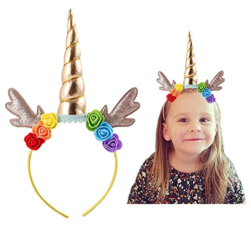Cute Costumes Makeup (Unicorn Headband Birthday Gift Cosplay Costume Makeup Party Favor Headpiece for Halloween Photo Props (Color-JL))