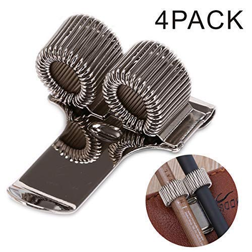 Pencil Clips - Expandable Bracelet-Style Metal Spring Double Pencil & Pen Holder with Pocket Clip ()