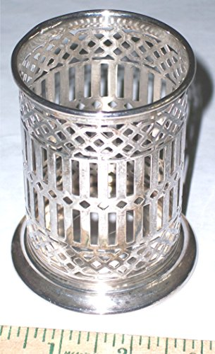 (Reticulated (pierced) Silver-Plate Holder to inset candle (tea or pillar), glass, bottle, , toothbrushs, pens, etc., vintage antique, Bernard Rice's Sons Inc. 6152)
