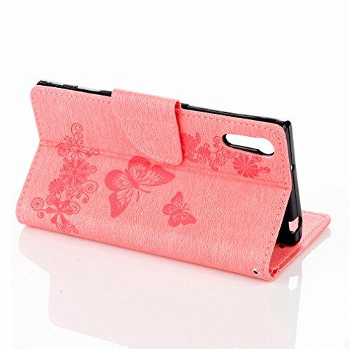 Yiizy Sony Xperia XZ F8332 Custodia Cover, Farfalla Fiore Design Sottile Flip Portafoglio PU Pelle Cuoio Copertura Shell Case Slot Schede Cavalletto Stile Libro Bumper Protettivo Borsa (Rosa)