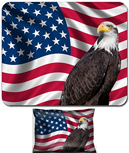 Liili Mouse Wrist Rest and Small Mousepad Set, 2pc Wrist Support IMAGE ID: 19193645 Patriotic symbol showing the American flag with a bald eagle ()