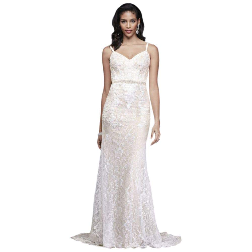 Sequin Lace Sheath Wedding Dress With Crystal Belt Style Swg819 At