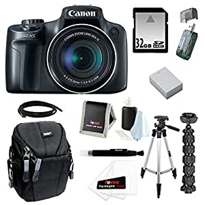"""Canon PowerShot SX50 HS 12.1 MP Digital Camera with 50x Optical IS Zoom with 50"""" Tripod w/ Case and 32GB Deluxe Accessory Bundle"""
