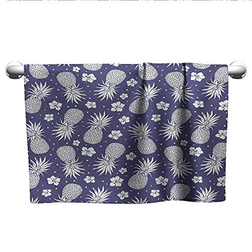 alisoso Fruits,Sweat Towel Exotic Pineapple Floral Hyacinth Vintage Summer Holiday Botanical Beauty Design Pool Gym Towels Lavender White W 10