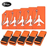5Sets Orange Adjustable Luggage Belts and Luggage Name tags By Ovener