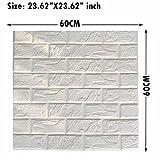 3D Wall Panels Stickers White Brick, Self Adhesive Peel& Stick Faux Foam Bricks Wallpaper 5 PACK