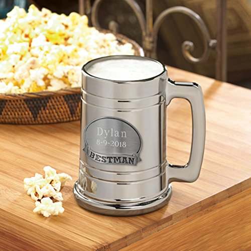Personalized Pewter Medallion - Personalized Bestman Glass Mug with Pewter Medallion