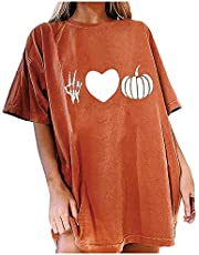 acction Womens Loose Halloween Pumpkin Print Round Neck Short-Sleeved Tee Blouses Oversized Casual Tshirts