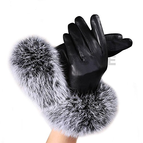 Fashion Women Black Faux Leather Gloves Autumn Winter Warm Rabbit Fur Mittens