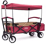Cheap Folding SPORTS Wagon with All-Terrain Rubber Tires, Removable Canopy, and Storage Basket + FREE Cooler (Red/Gold) 900558