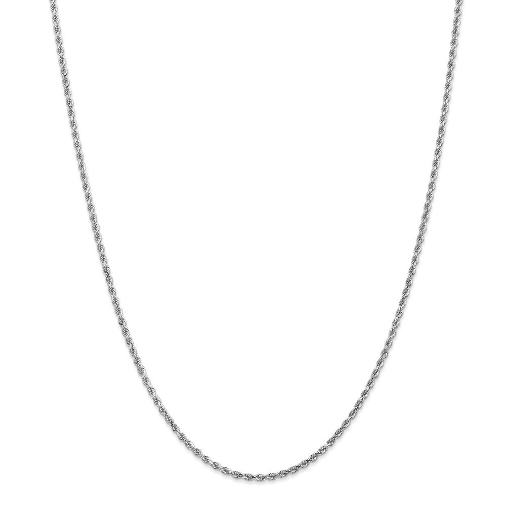 14k White Gold 2mm Diamond-Cut Rope Chain
