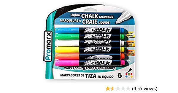 Promarx Vivid Neon Fluorescent Liquid Chalk Markers for Chalkboards and Dry Erase Boards (6 Pack)