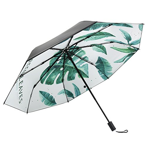 Muryobao Compact Travel Rain Sun Umbrella Windproof Folding Golf Umbrella Unbreakable Light Umbrellas With UV Protection for Women Men Black Green Leaves
