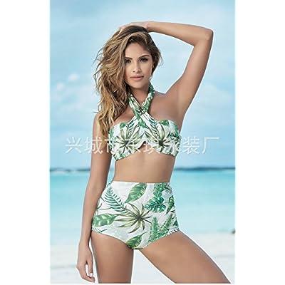 Le timbre est moderne et confortable - bikini taille haute multiples chantiers grand feuillage tropical maillot stamp disque proposition d'ensemble.