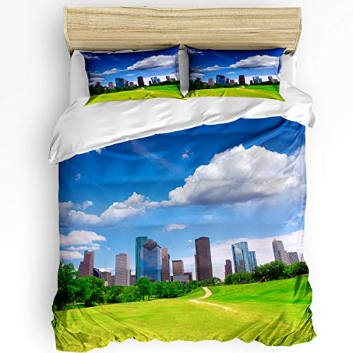 USA Aluminum 3 Piece Bedding Set Comforter Cover Twin Size, Houston Texas Modern City Skyscrapers Buildings Clouds Sky View, Duvet Cover Set with Zipper Closure for Childrens/Kids/Teens/Adults ()