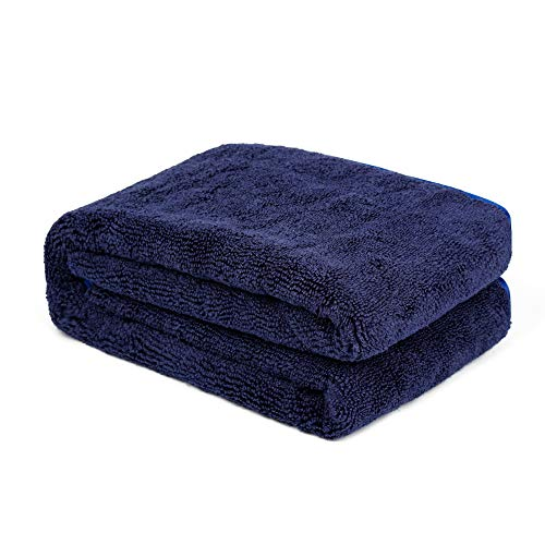 CARCAREZ Large Water Absorbing Microfiber Drying Towel for Auto Car RV Truck, 500 GSM, 25x36 inch, Blue
