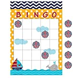 Club Pack of 60 Ahoy Matey Navy Blue Chevron and Yellow Polka Dot Bingo Party Games 10''