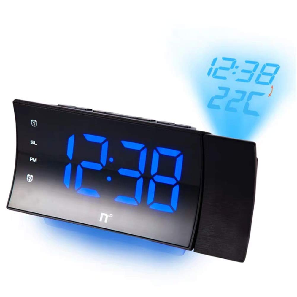 LLVV Projection Clocks Digital LED Alarm Clock with Thermometer Desktop Rotating Projection Electronic Clock Bedroom Snooze Alarm Clock by LLVV