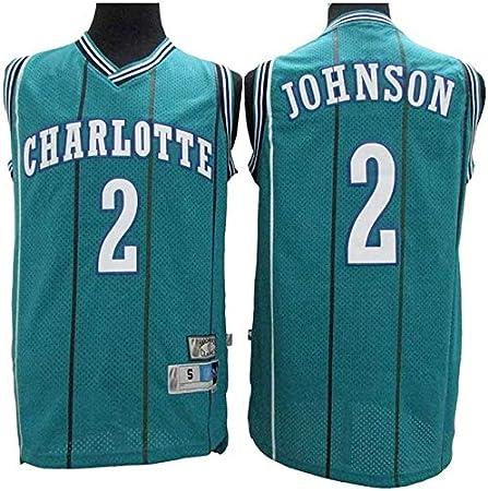 Transpirable Tela Alero Baloncesto NBA Jersey Larry Johnson # 2 Charlotte Hornets Retro De Las Estrellas Jersey Camiseta De Los Hombres Jersey