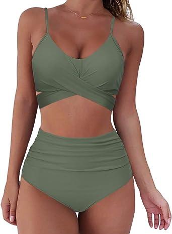 RXRXCOCO Women Wrap Bikini Set Push Up High Waisted 2 Piece
