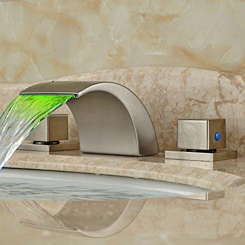 U-Enjoy Wasserfall Verbreitet Mixer Top-Qualität-Hahn-Doppelhandgriff Led Haus Badezimmer Küche Licht Badezimmer-Hahn [Kostenloser Versand]