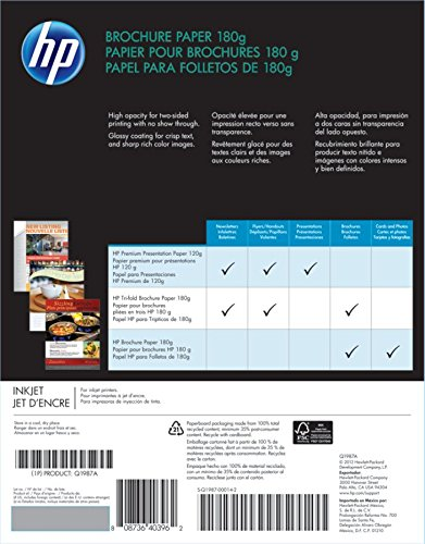 HP Brochure Paper, Glossy (150 Sheets, 8 5 x 11 Inches, 180 g) 92  Brightness Q1987A
