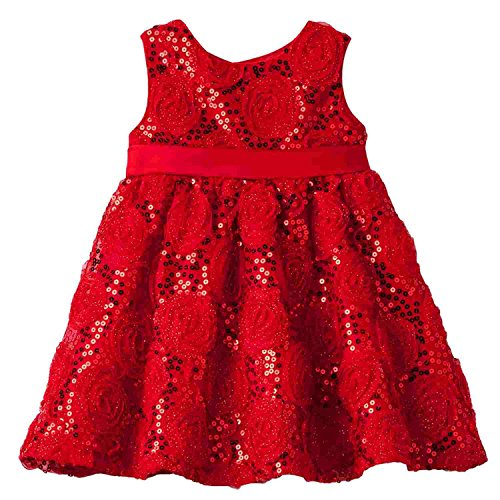 Rare Too! Infant Girls Red Rose Sequin Holiday Party Special Occasion Dress]()