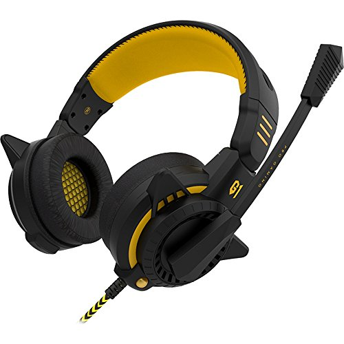 Gaming Headset, GranVela BINGLE Wired Stereo Over-Ear Headphones with Microphone and Volume Control 3.5mm Connectors Best Enhanced Bass for PC, Notebook, Mac (Yellow)