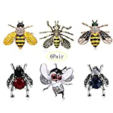 3Pcs Cute Honeybee Enamel Brooches Pin Antique Crystal Rhinestones Bee Scarf Clips for Women Girls (Style5)
