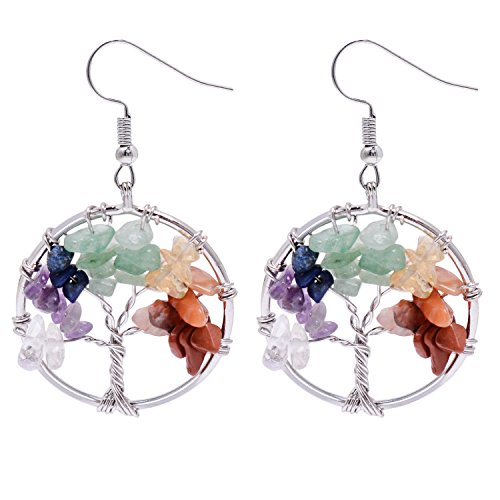 Yoga Chakra Tree of Life Earring - Wire Wrapped Rainbow Gemstone Birthstone Heating Family Tree Tumbled Stone Necklace for Women (Dangling Gemstone Earrings)