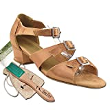Womens Ballroom Dance Shoes Party Salsa Practice Shoes Brown Satin 1679EB Comfortable - Very Fine 1.5'' Heel 7.5 M US [Bundle of 5]