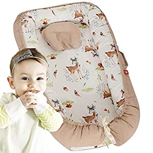 Brandream Baby Nest, Baby Bassinet for Bed,Portable Crib for Bedroom/Travel,Baby Cocoon,Baby Lounger,Baby Positoner,Pot,Co Sleeping, Woodland Deer