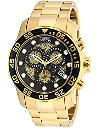 Men's 19837SYB Pro Diver 18k Gold Ion-Plated Stainless Steel Watch