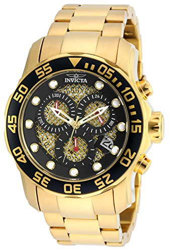 Invicta Men's 19837SYB Pro Diver 18k Gold Ion-Plated Stainless Steel Watch (Swiss Gold 18k)