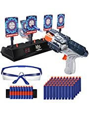 OR OR TU Foam Dart Toys Gun Blaster with Electronic Shooting Target Auto Reset 4 Targets with Lights & Sounds Effects Toys Gun Birthday Gift for Age 6 7 8 9 10+ Years Old Boys Girls Kids
