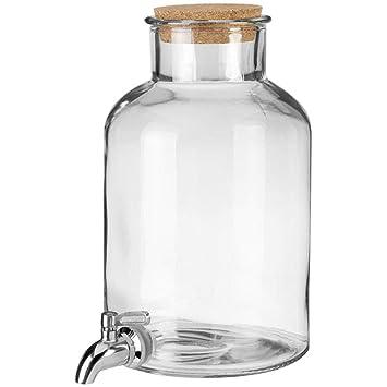 Zapfhahn und Ständer Party Bowle Getränkespender Glas 5,5 Liter mit Deckel