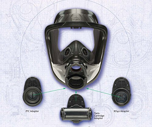 MSA Safety 10083795 Advantage 4100 Series Full-Facepiece Hycar Respirator with Rubber Head Harness, Single-Port, Medium